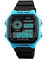 PASOY Men's Digital Multi-Function Watches Dual Time Alarm Stopwatch Countdown Backlight Waterproof Watch (Rubber/Blue)