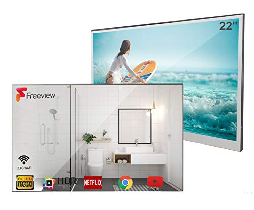 Soulaca Smart Spiegel TV 22 Zoll IP66 wasserdicht TV für Badezimmer, Hotel mit Fernbedienung...