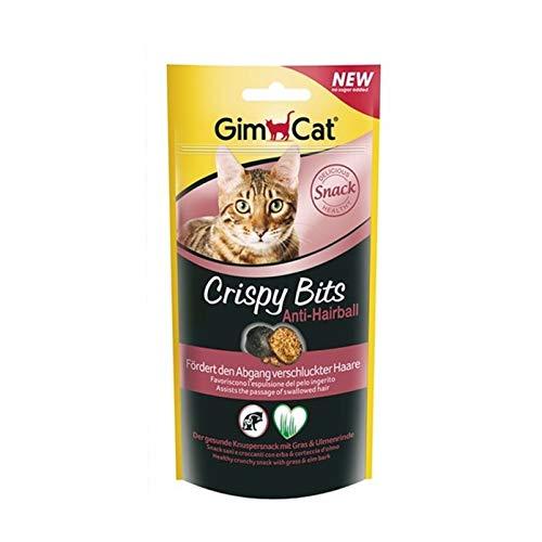 GimCat Crispy Bits - Snack crujiente de carne para gatos, con ingredientes funcionales - Sin azúcar añadido - Antibolas de pelo - 40 g