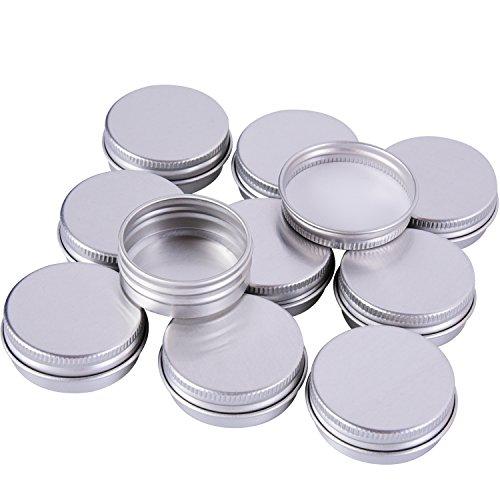 Sumind 15ml Pots de Baume en Aluminium Vis Baume Maquillage Crèmes Rondes Contenants à Crème, 10 Pièces, Couleur Argent