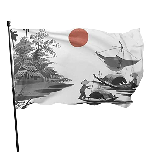 Bandera de jardín Sun Lake Boat Casa Duradera Bandera de Patio Decoración de la casa Celebración estacional Bandera de jardín en casa Banner 90 x 150 cm
