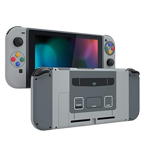 eXtremeRate Cover con Pulsanti per Nintendo Switch Joy-Con Console,Scocca Custodia JoyCon Case Controller Guscio DIY Tasti Colorati Ricambio per Nintendo Switch(SFC SNES Classic EU)