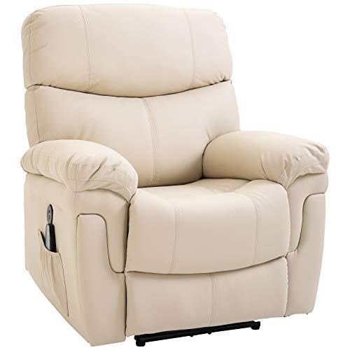 HOMCOM Massagesessel Relaxsessel mit Wärmefunktion und Vibration 160°-Liegeposition PU Cremeweiß 94 x 93 x 106 cm