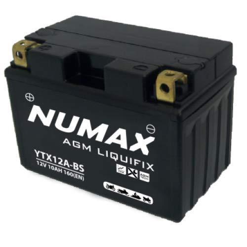 Numax - Batterie moto Numax Premium AGM avec pack acide YTX12A-BS 12V 10Ah 160A
