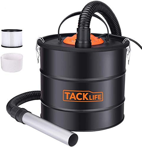 TACKLIFE Ash Vacuum with 5 Gallon Capacity and 800w Fireplace Vacuum, Portable ash Collectors with Metal Hose and Aluminum Nozzle for fireplaces, Wood stoves, Pellet stoves and BBQ Grills-PVC03A