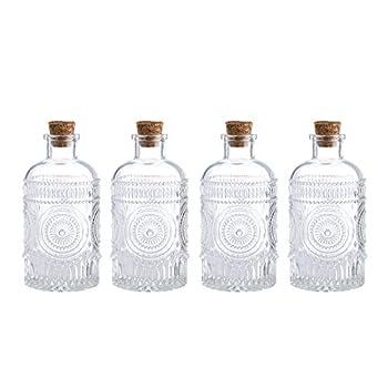Vintage Design Embossed Clear Glass Bottles,Glass Flower Bud Vase with Cork Lid Set of 4