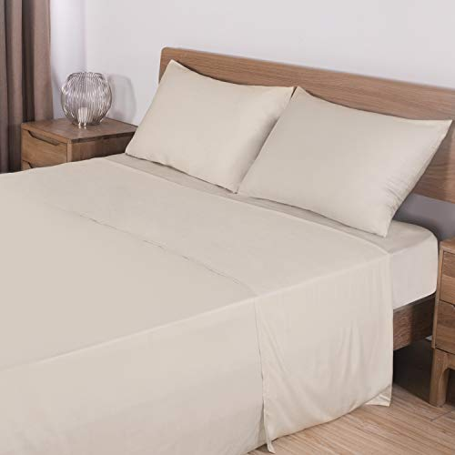 "Zerohub 100% Pure Organic Bamboo Bed Sheets Set - 16"" Deep Pocket - Silky Soft Touch, Hypoallergenic, Cooling and Lightweight - 4 pcs (Beige, King)"
