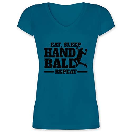 Handball - Eat, Sleep Handball Repeat - schwarz - XXL - Türkis - 32 - XO1525 - Damen T-Shirt mit V-Ausschnitt