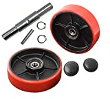Pallet Jack/Truck Steering Wheels Set with Axle, Fasteners and Protective Caps (4 pcs) 7' x 2' with Bearings ID 20mm Poly Tread Red