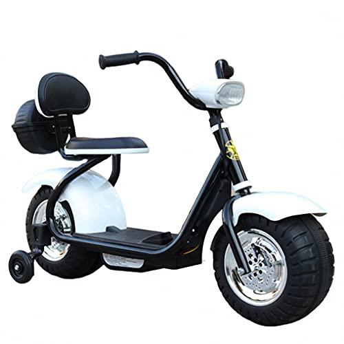 WYNBB Motocicleta Eléctrica Infantil,Scooter Eléctrico para Niños Batería 6V,for Niños Niños y Niñas,White