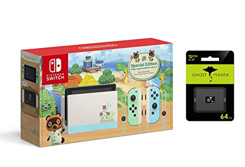 Nintendo Switch Pastel Green and Blue Joy-Con Console - Animal Crossing: New Horizons Edition Bundle...