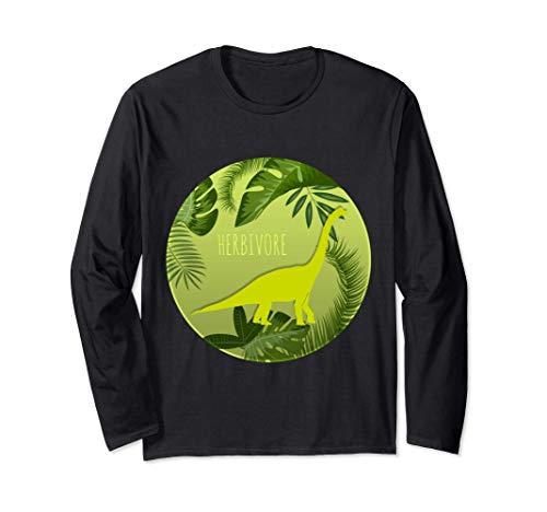 Vegan Dinosaur Herbivore Funny Cute Vegetarian Gift Long Sleeve T-Shirt