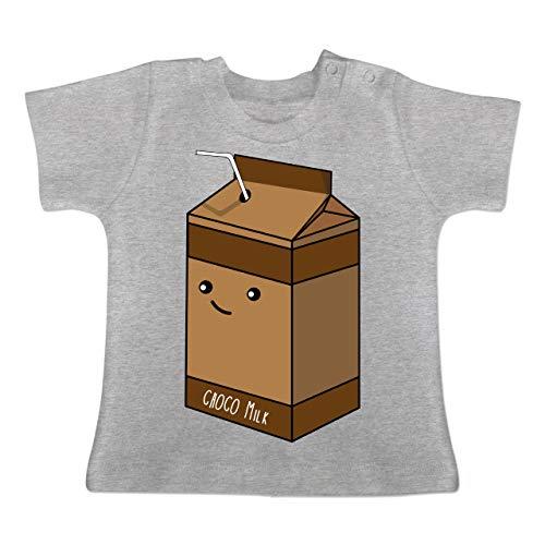 Karneval und Fasching Baby - Partnerkostüm Schokoladenmilch - 3/6 Monate - Grau meliert - BZ02 - Baby T-Shirt Kurzarm