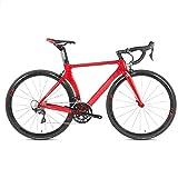 Yinhai Kohlefaser-Rennrad, Carbongabel, Shimano UT R8000, 22 Geschwindigkeiten, 700C-Räder, Rot, Weiß,Red 52cm