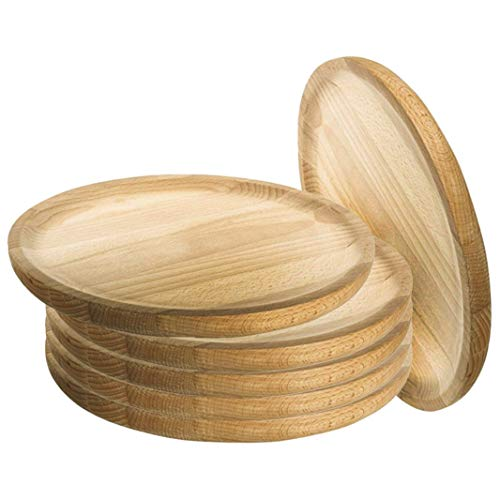 Ruibal - Platos para Pulpo de Madera - Set de 6 - Ø 28 cm Pino de Primera Calidad Ideal para Comer Pulpo a la gallega, Pulpo