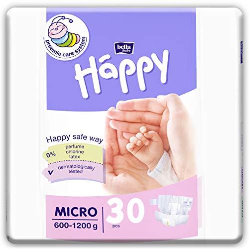 bella baby Happy Windeln Größe Micro 600-1200 g, 3er Pack (3x30 Stück) für Frühgeborene mit besonderen Bedürfnissen