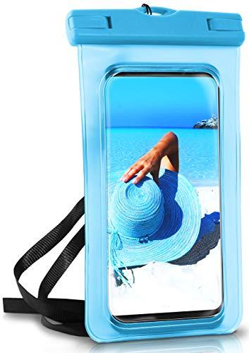 ONEFLOW® wasserdichte Handy-Hülle für alle Lenovo Handys | Touch- und Kamera-Fenster + Armband & Schlaufe zum Umhängen, Blau (Aqua-Blue)