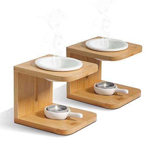 ComSaf Keramik Duftlampe mit Kerzenhalter 2er-Set, Abnehmbar Aromalampe Aromabrenner für Duftöl und Duftwachs