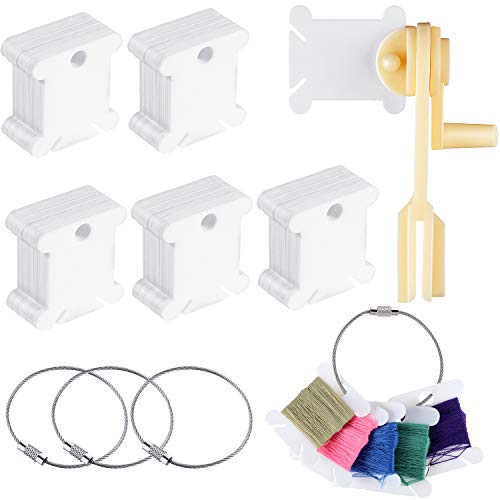 120 Pieces Plastic Floss Bobbins Thread Cards with Floss Winder and 4 Pieces Floss Bobbin Rings for Craft DIY Embroidery Sewing Storage