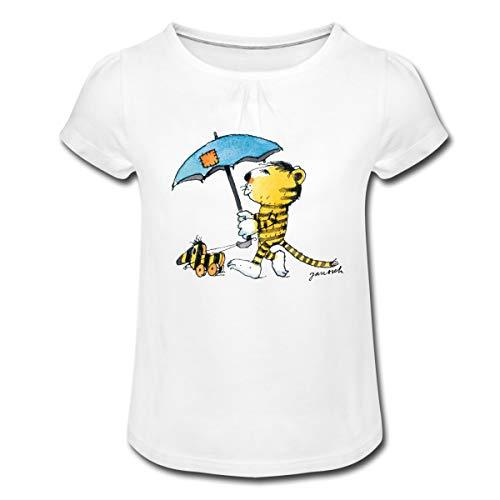 Janosch Kleiner Tiger Tigerente Mit Schirm Mädchen T-Shirt mit Raffungen, 2 Jahre, Weiß