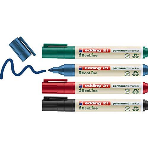 edding 21/4 S - Caja de 4 marcadores permanentes con punta r
