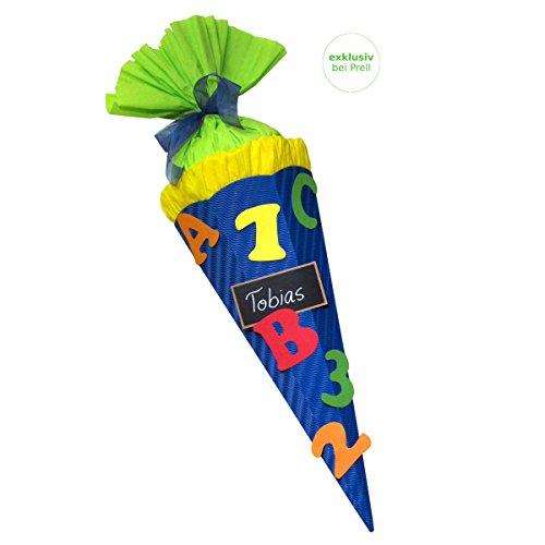 Schultüte Bastelset Schultüte ABC blau - Zuckertüte - aus 3D Wellpappe, 68cm hoch
