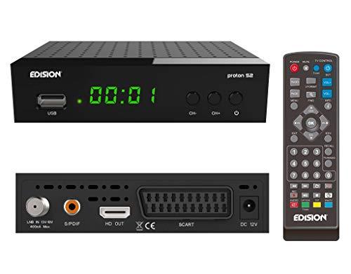 EDISION Proton S2 Full HD SAT Receiver FTA, (1x DVB-S2, USB WiFi Support, USB, HDMI, SCART, S/PDIF, IR Auge,FTA schwarz) [ für Astra vorprogrammiert]
