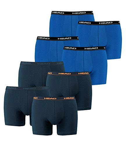 HEAD Men Boxershort 841001001 Basic Boxer 8er Pack, 2x Peacoat/Orange 2x Blau, L