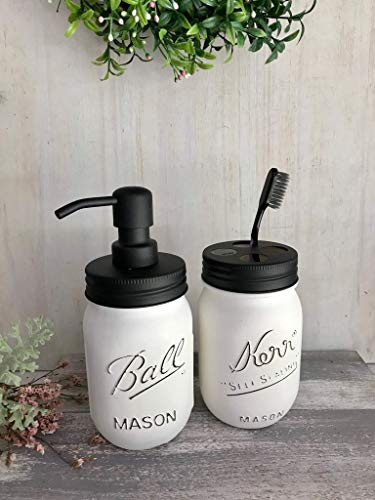 Mason Jar Decor Rustic Soap Dispenser Bathroom Set
