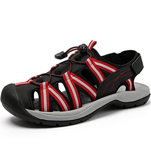 SAGUARO Sandalias Deportivas Mujer Senderismo Sandalias AL Aire Libre Punta Cerrada Zapatos Rojo 38 EU
