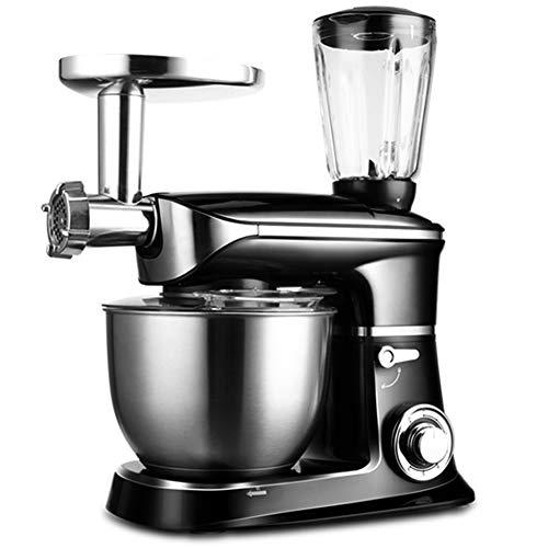 BCXGS Robot de Cocina Universal, Batidora, 1300 W, 6,5 litros, Amasadora planetaria, Picadora de Carne, Rodillo Pasta, 6 Velocidades, Negro