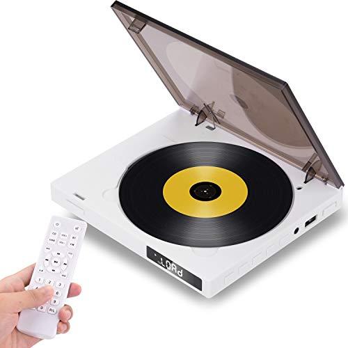 CD Player,AETKFO Bluetooth CD Radio Musik Player mit Fernbedienung,LED Display,Eingebauter 2 HiFi-Lautsprecher, FM-Radio,MP3,Timing-Funktion,3.5mm Kopfhörerbuchse - Weiß