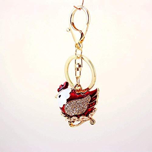 LLZYZJ Pendiente Clave del Coche Lindo Old Hen Chinese Zodiaco de Gallo Metal Colgante Llavero Bolsa de Mujer Accesorios Accesorios Pequeño Regalo