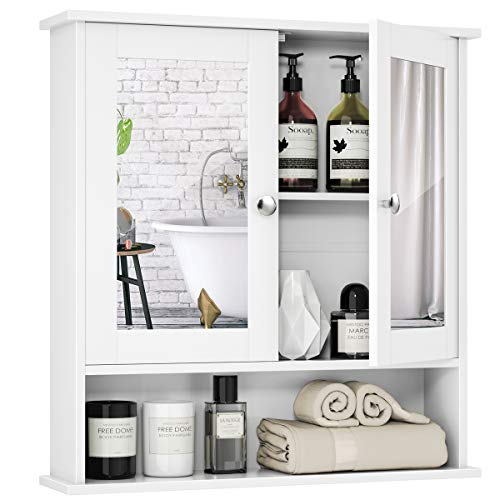 Tangkula Bathroom Cabinet Wall Mounted with Double Mirror Doors, Wood Hanging Cabinet -