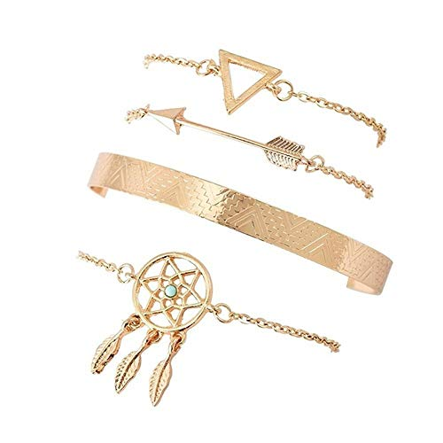 No/Brand 4Pcs/Set Ladies Bracelet Leaf Gemstone Geometric Arrow Crystal Chain Gold Bracelet Ladies Exquisite Beach Bracelet Jewelry