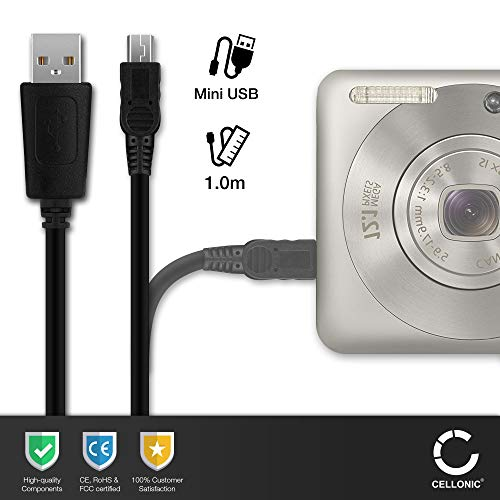 CELLONIC® USB Datenkabel (1m) kompatibel mit Nikon D3100, D90, D80, D7000, D70, D610, D600, D60, D50, D4s, D40, D3s, D3000, D200, 1 J1 (Mini USB auf USB A (Standard USB)) USB Kabel Ladekabel schwarz