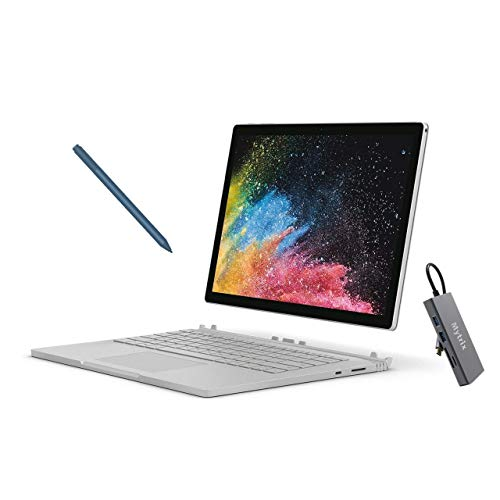 Microsoft Surface Book 2 13.5' Touchscreen (3000x2000) 2-in-1 Laptop, Intel Core i5 Quad-Core, 8GB RAM, 256GB SSD Storage, USB-C, Win10 Pro w/Ice Blue Surface Pen, Mytrix USB-C Hub