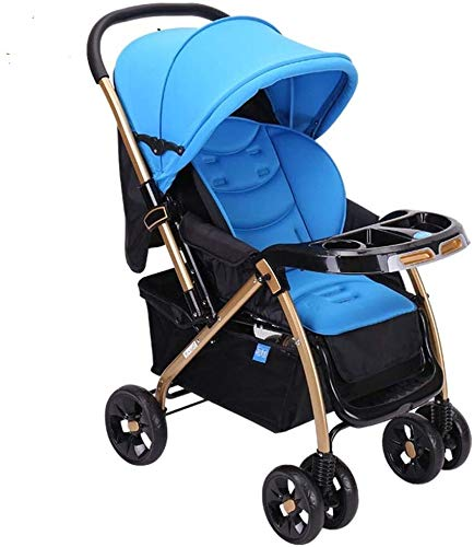 Check Out This OESFL Baby Stroller Can Sit Reclining Pram Stroller Light Folding with Mosquito Net Shock Absorber Two-Way Baby Carriage Baby cart (Color : A)
