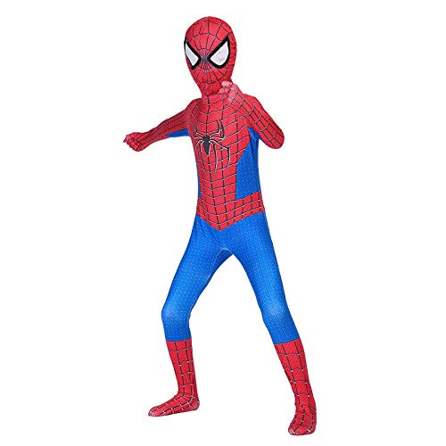 RNGNBKLS Enfant Spiderman Déguisement Carnaval d'halloween Cosplay Party Fantaisie Costume Super Héros Super Héros Spandex/Lycra,D-120(110-119cm)