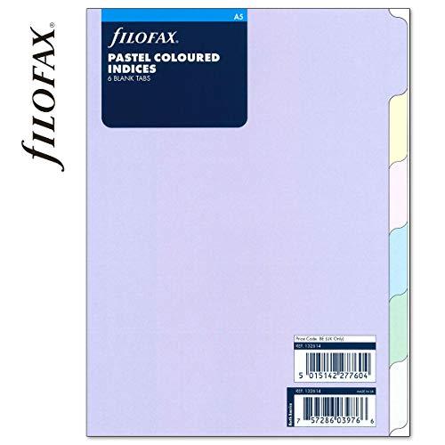 Filofax A5 Pastel A5 Refill 6 Blank tabs Index 132614