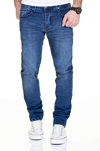 MERISH Jeans Herren Destroyed Hose Used-Look Jeanshose Männer Denim 2081-1001 (32-32, 1001 Blau)