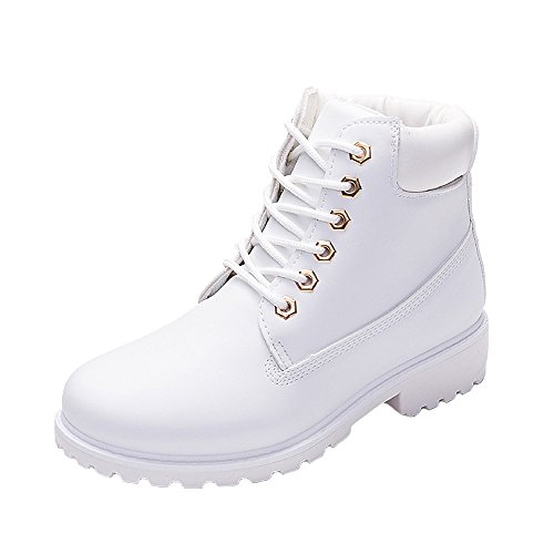 WUIWUIYU Mens Womens High-Top Lace Up Ankle Boots Combat Booties Outdoor Walking Hiking Trekking Shoes White Women Size 8.5 M