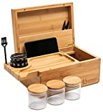 """Large Stash Box 100% Bamboo - Sliding Rolling Tray w/Brush - 3 Airtight Containers - Herb Grinder - Handcrafted/Natural Varnished Color - Width 10.5"""" x Height 5"""" x Depth 7"""""""