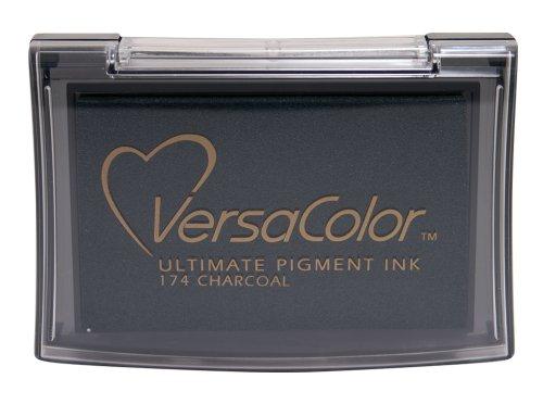 Tsukineko Verscolor Pigment Stempelkissen Anthrazit, Synthetic Material, schwarz, 9.7 x 6.6 x 1.8 cm