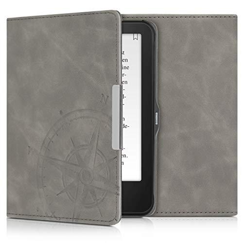 kwmobile Hülle kompatibel mit Tolino Vision 1/2 / 3/4 HD - Kunstleder eReader Schutzhülle Cover Case - Kompass Vintage Grau