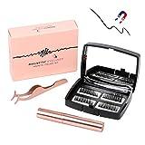Magnetische Wimpern, Magnetic Eyeliner, 3D Langlebiger Eyeliner Set Wiederverwendbare 5 Magnete, Gespiegelte Box, Pinzette