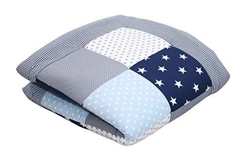 Alfombra para gatear de ULLENBOOM  con azul claro azul gris (manta para bebé de 100x100 cm; ideal como colcha para el cochecito; apta como alfombra de juegos)