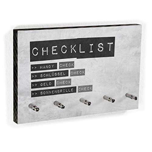Schlüsselbrett Checklist für Männer | Nichts mehr vergessen - Lustiges Schlüsselboard - Männergeschenk - 5 Haken - Handmade