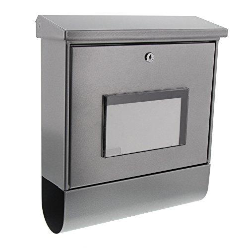 BURG-WÄCHTER Briefkasten mit Zeitungsfach und beleuchteter Hausnummer, Verzinkter Stahl, Einwurf-Format DIN C4, Inkl. 2 Schlüssel, Malaga 4400 SI, Silber