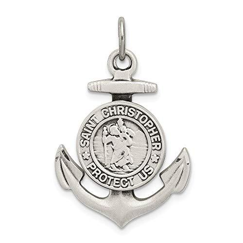 Broche de plata de ley de pared con marco envejecido Satin St Christopher medalla Anchor lámpara de techo - JewelryWeb